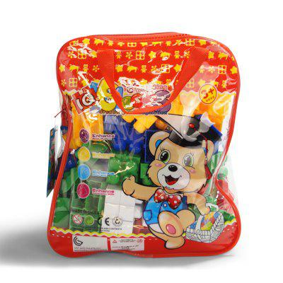 Pp children big granule puzzle early education plastic collage block toy back pack