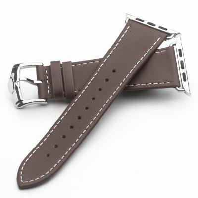 QIALINO Genuine Leather Strap  Stainless Steel Pin Buckle Watchband for iWatch 42mm Series 3/2/1