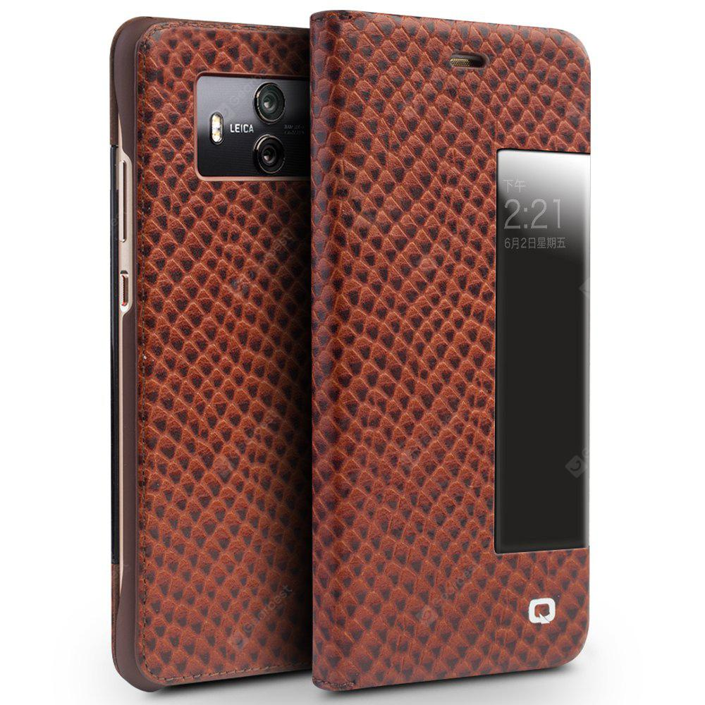 QIALINO Smart Window View Flip Case Real Leather Cover Case for Huawei Mate10