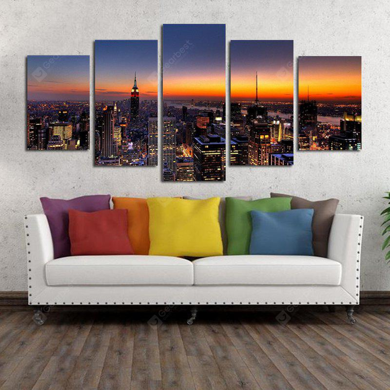 Unframed Canvas Prints of Modern City for Home Decoration 4pcs