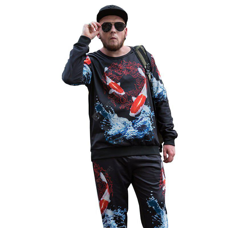 Autumn Trend of Chinese Style Carp Printing National Wind Plus Fat Plus Size Men'S Long-Sleeved Sweatshirt PCW70026B