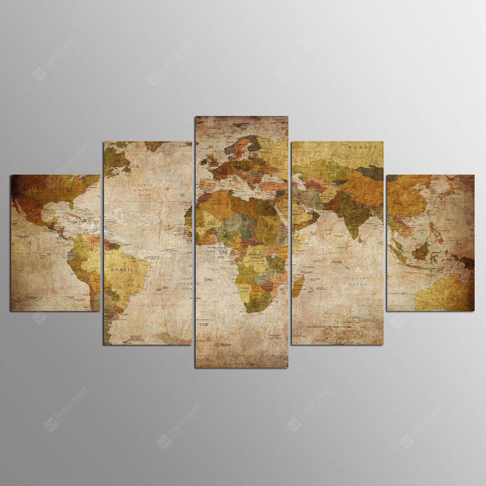 YSDAFEN 5 Panel Modern Hd World Map Art Print Canvas Art para Living Room Wall Picture