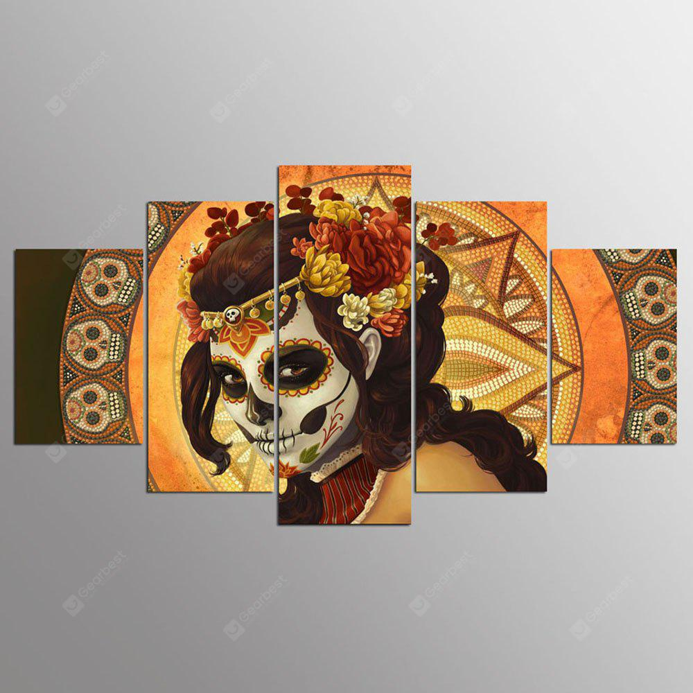 YSDAFEN 5 Panel Modern Day of Dead Dead Canvas Art para Living Room Wall Picture