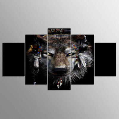 YSDAFEN 5 Panel Modern Awesome Wolf Canvas Art para Living Room Wall Picture