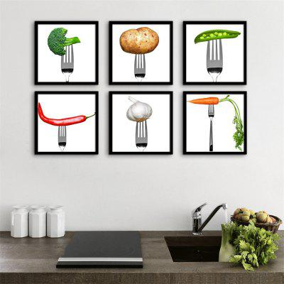 Special Design Frame Paintings Green Vegetables Print 6PCS