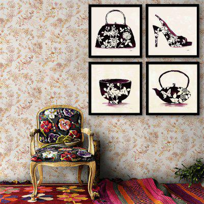 Special Design Frame Paintings Pot Of Bowl Of Shoes Print 4PCS