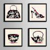 Special Design Frame Paintings Pot Of Bowl Of Shoes Print 4PCS - WHITE