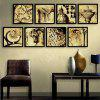 Special Design Frame Paintings Aristocracy Print 8PCS - ANTIQUE BROWN