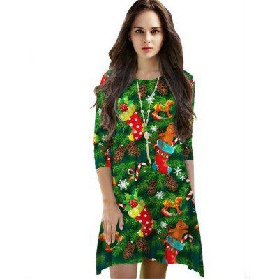 Printed Christmas Long Sleeved Dress