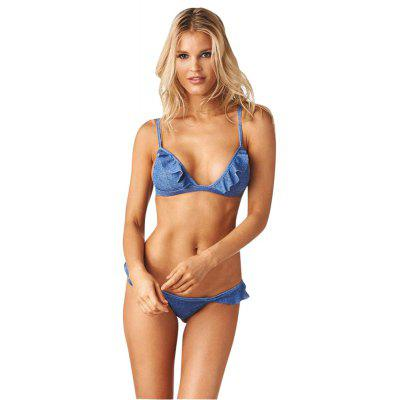 Split Bikini Denim Blue Swimwear Sexy Swimwear