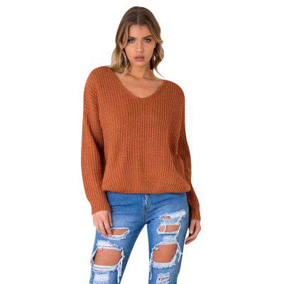 Autumn New V-neck Long-Sleeved Cross-Tie Drawstring Hollow Sweater