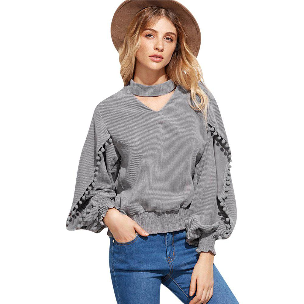 Autumn and Winter New Collar V Neck Long Sleeve Ball Decorative  Blouse