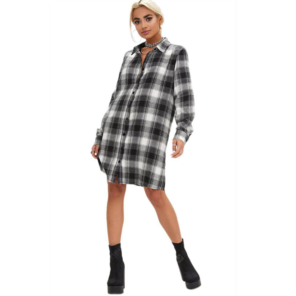 New Autumn and Winter Lapel In The Long Section Of Long-Sleeved Shirt Loose Casual Plaid