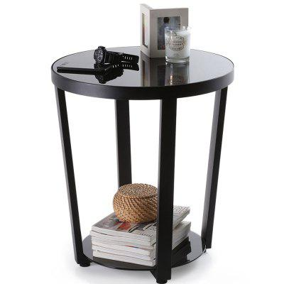 Round Glass Top End Table Living Room Side Table Coffee Desk, Black