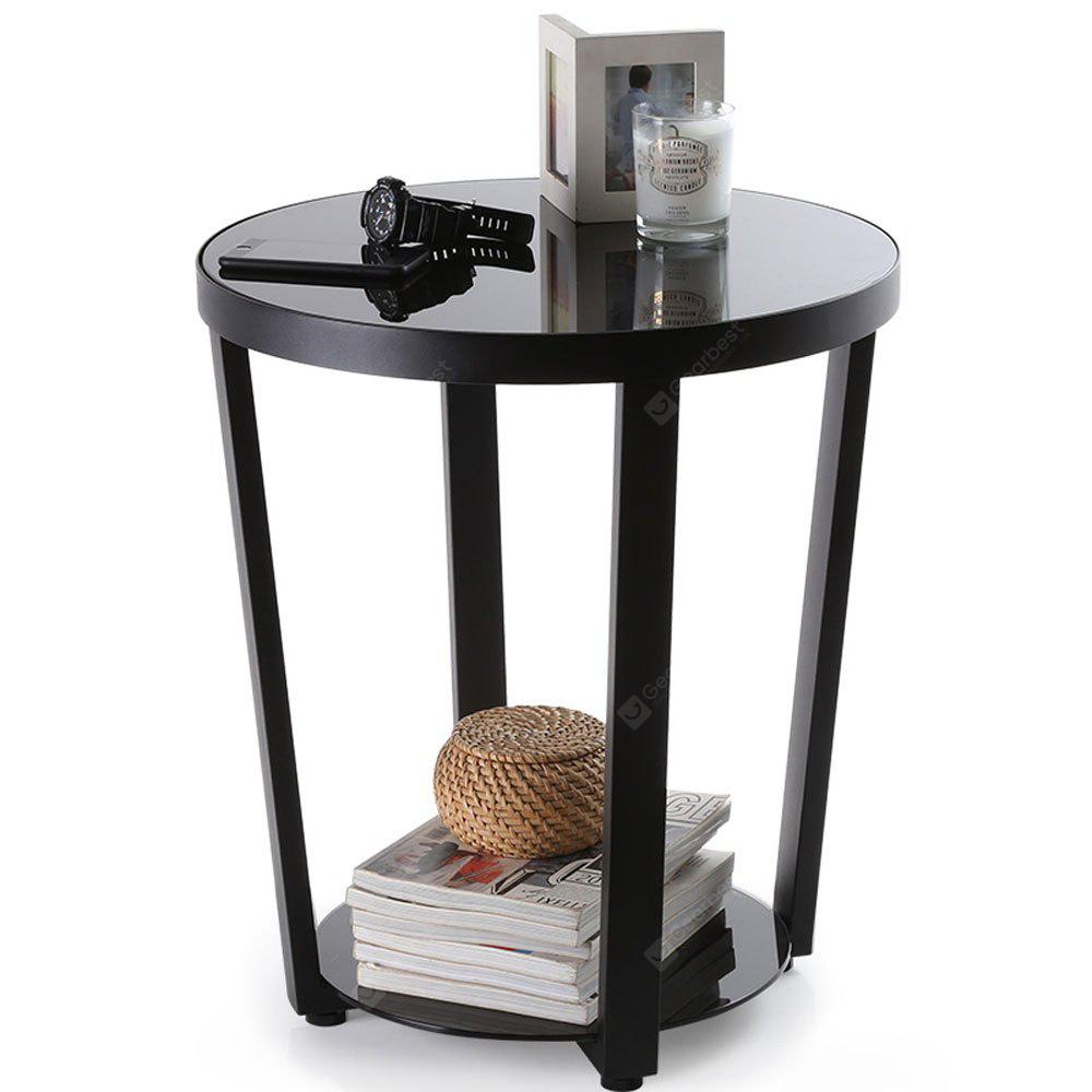 Round glass top end table living room side table coffee desk black free shipping Black glass side tables for living room