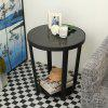 Round Glass Top End Table Living Room Side Table Coffee Desk, Black - BLACK