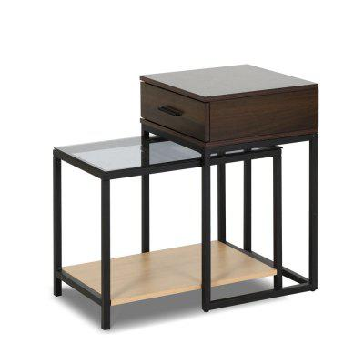 Nesting Table  Side Table 2-Piece Tempered Glass Desk with Drawer