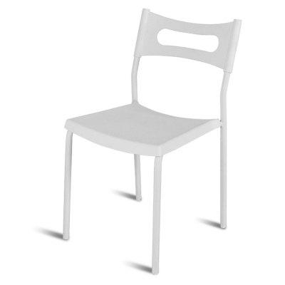 Simple Backrest Chair, White Plastic Chair With Carbon Steel Stool Legs