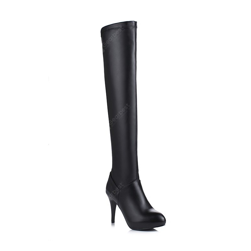 Round Head with High Heels Sexy Night Clubs Knee Boots