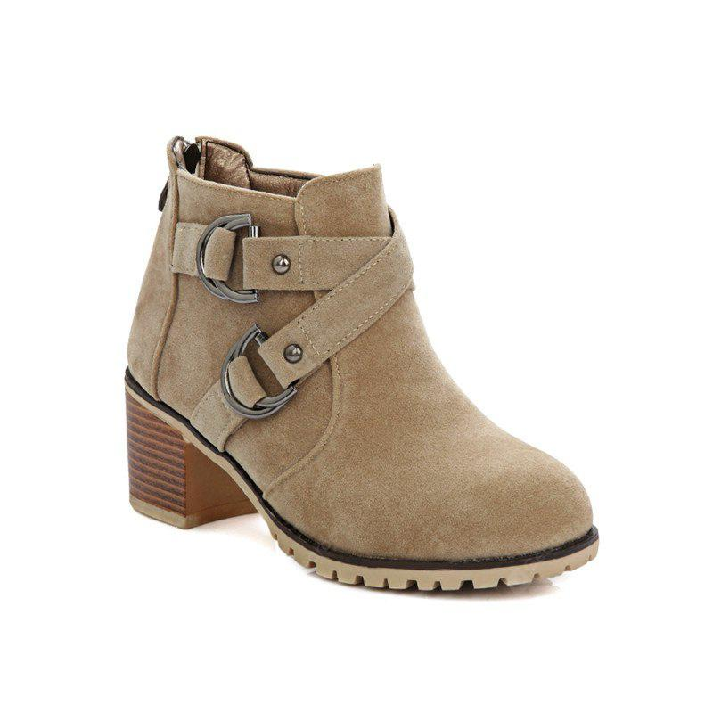 Round with Cross Belt Buckle Fashion Boots