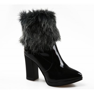 Pointed Thick with Sexy Patent Leather Short Boots