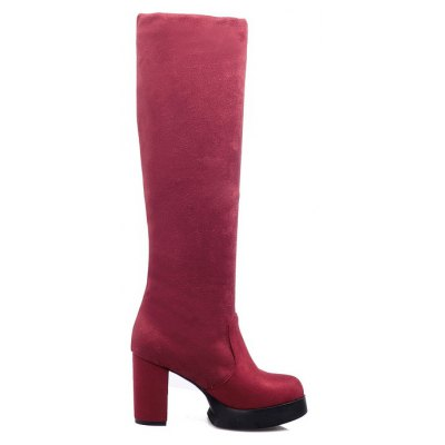 Round Waterproof Platform Rough with High Heel Sexy Wear Two High BootsWomens Boots<br>Round Waterproof Platform Rough with High Heel Sexy Wear Two High Boots<br><br>Boot Height: Knee-High<br>Boot Type: Fashion Boots<br>Closure Type: Slip-On<br>Gender: For Women<br>Heel Height Range: High(3-3.99)<br>Heel Type: Chunky Heel<br>Insole Material: PU<br>Lining Material: Lycra<br>Package Contents: 1xShoes(pair)<br>Pattern Type: Solid<br>Platform Height: 2<br>Season: Winter<br>Shoe Width: Medium(B/M)<br>Toe Shape: Round Toe<br>Upper Material: Microfiber<br>Weight: 0.8500kg