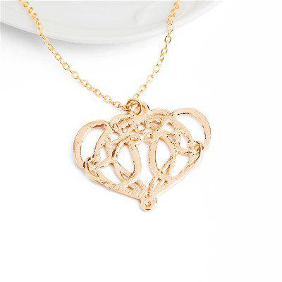 Women's Necklace Golden Color Hollow Out Love Pendant Clavicle Chain