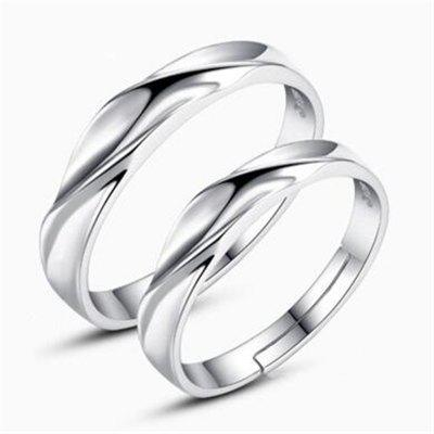 Ataullah New 925 Silver Lovers' Rings Men and Women Trendy Sterling Silver Rings Adjustable Size Fine Jewelry RWD852