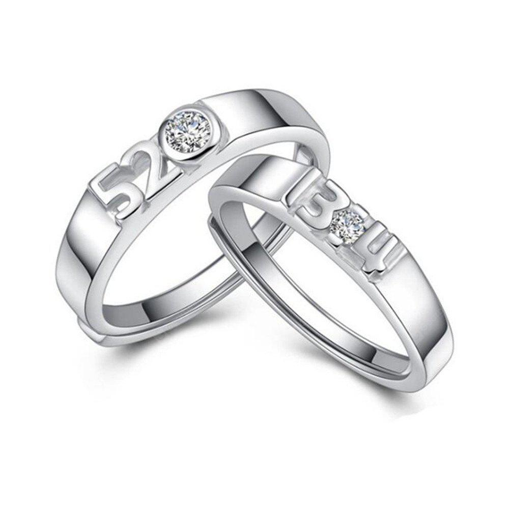 Ataullah New 925 Silver Lovers' Rings Men and Women Wedding Rings Adjustable Size Fine Jewelry RWD850