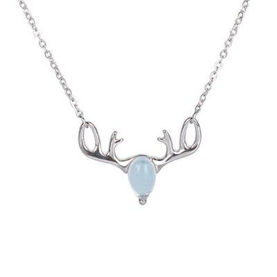 Natural moonstone 925 sterling silver necklaces for women antlers natural moonstone 925 sterling silver necklaces for women antlers luxury pendants fine jewelry with chain ssn013 mozeypictures Gallery