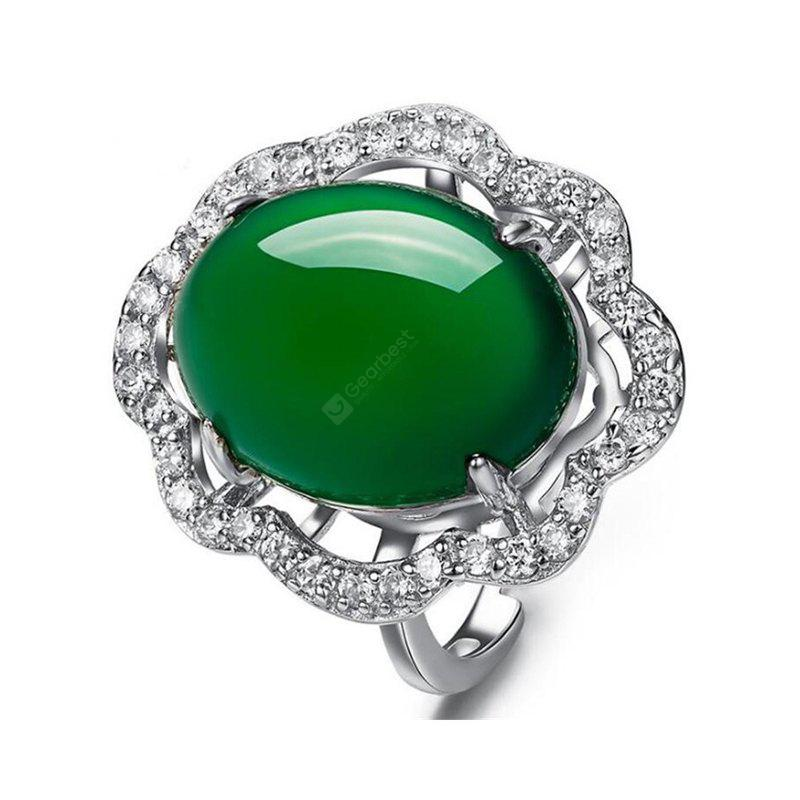 New Big 925 Silver Oval Natural Jade Rings for Women Sterling Silver Women Wedding Rings Jade Size 15*13 MM RWD849
