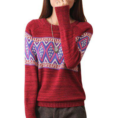 Round Neck Geometry Pullover Sweater