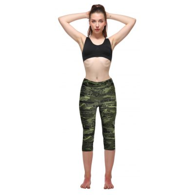 Buy GREEN + GREY L Camouflage Printing Yoga Pants for $9.84 in GearBest store