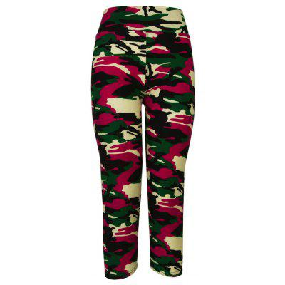 Buy CAMOUFLAGE ROSE RED L Camouflage Printing Yoga Pants for $9.84 in GearBest store