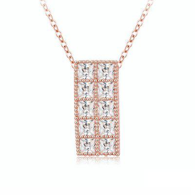 Collier Femme Style Simple Rectangle Motif Pendentif en Cristal