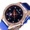 ZhouLianFa New Wristband Ladies Trendy Luxury Crocodile Pattern Rose Gold Diamond Watch with Gift Box - BLUE