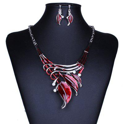 Women Leaf Pendants Necklace Earrings Set Luxury Bridal Jewelry Choker