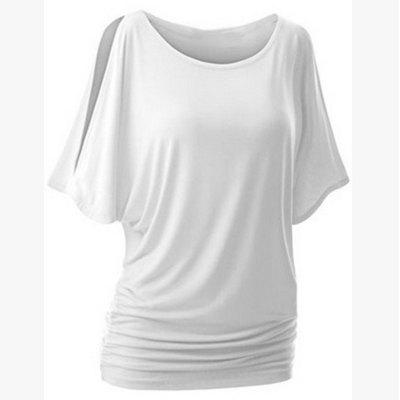 Round Collar Pure Color T-shirt