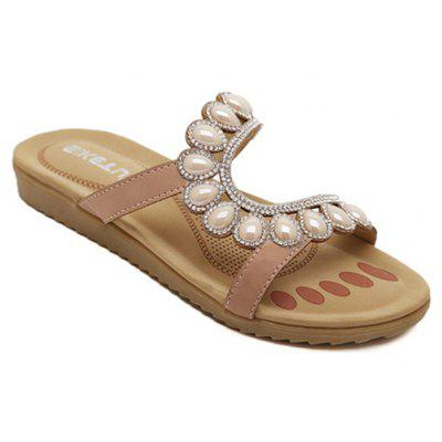 Ladies Rubber Sole Water Drilling Flat Beach Shoes