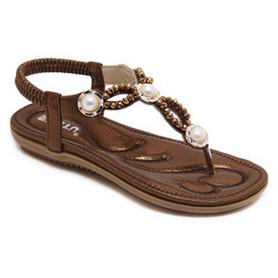 Ladies Rubber Sole Beaded Pearl Flats