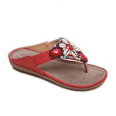 Ladies Rubber Sole Beads for Foreign Trade Large - Sized Shoe Pinchpin Sandals