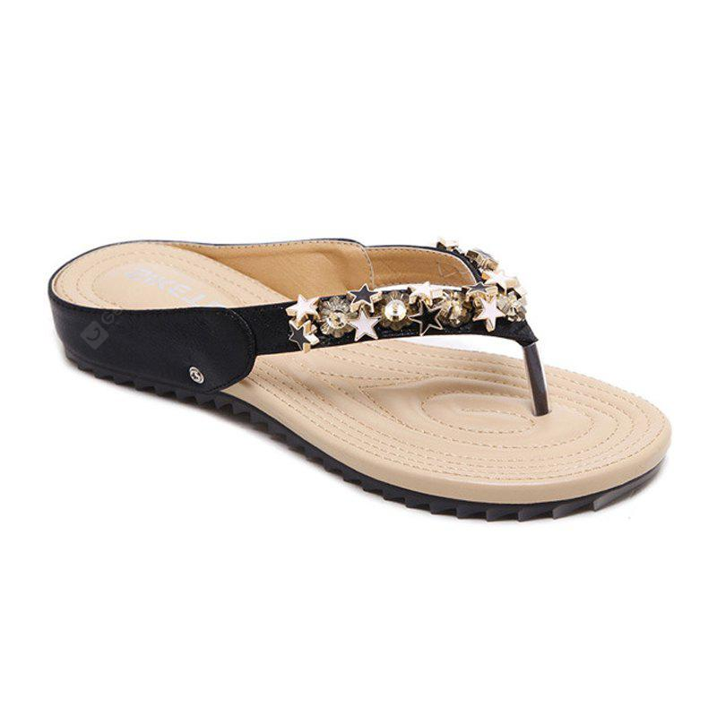 Ladies Rubber Soles with Beads Soft Soles for Comfortable Flats