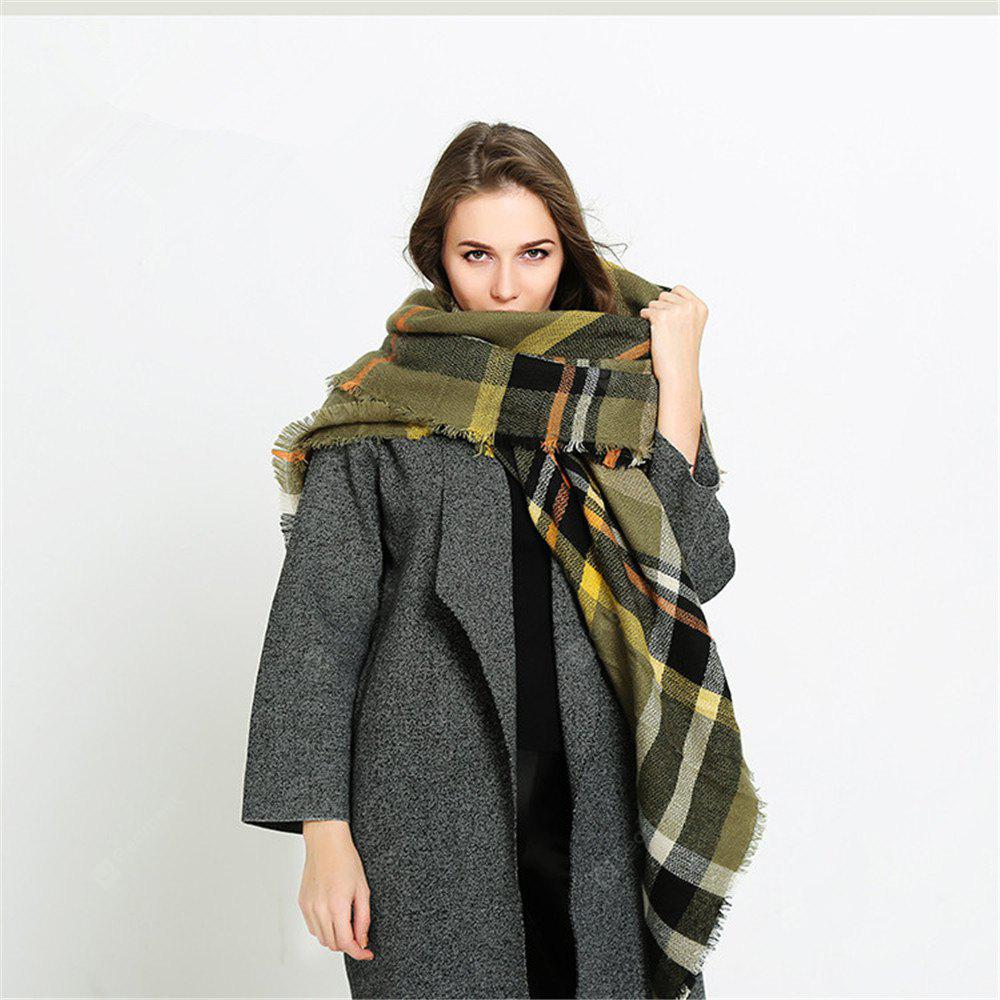 Coloured plaid like cashmere warm scarf