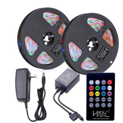 HML 2pcs 5M impermeabile 24W RGB 2835 300 LED Strip Light - RGB con telecomando IR 20 Keys Music e adattatore US