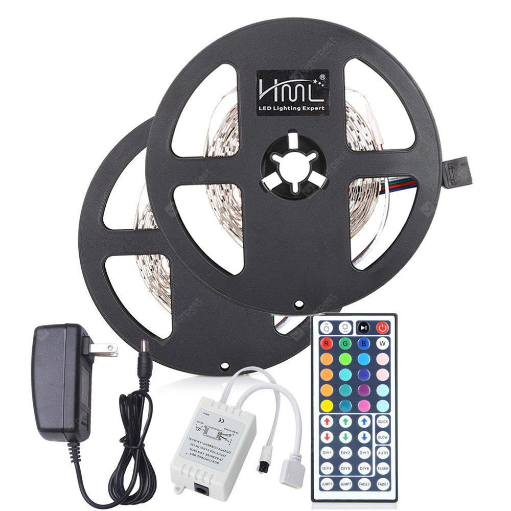 2pcs x 5M HML 24W RGB 2835 300 LED Strip Light with IR 44 Keys Remote Control+ Adapter(US Plug)