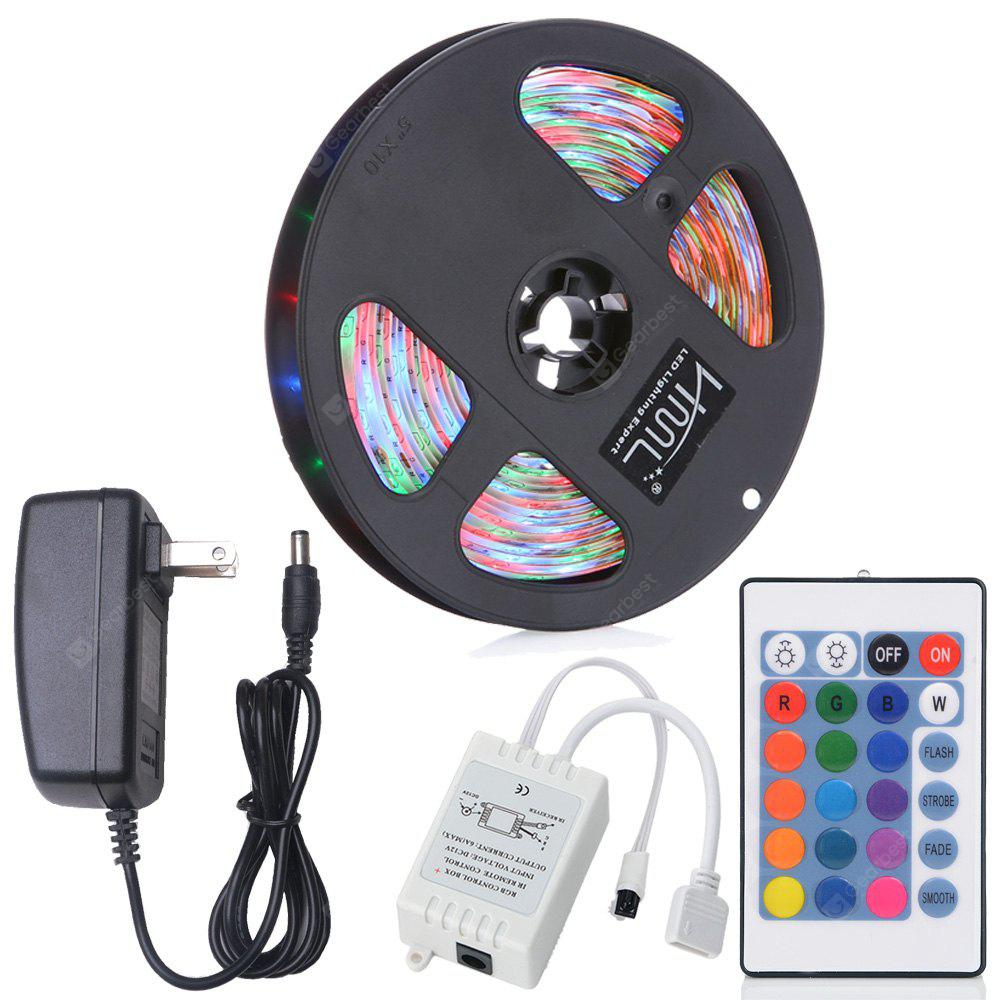 HML 5M Water-proof 24W RGB 2835 SMD 300 LEDs Strip Light with 24 Keys Remote Control and US Adapter