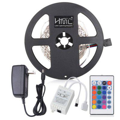 HML 5M 24W RGB 2835 SMD 300 LED Strip Light with IR 24 Keys Remote Control+ US Adapter