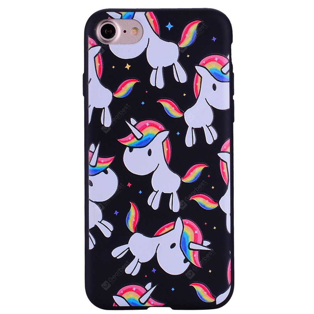 Rainbow Unicorn Phone Case for iPhone 7 Cartoon Relief Soft Silicone TPU Cover Cases Protection Phone Bag with Stand