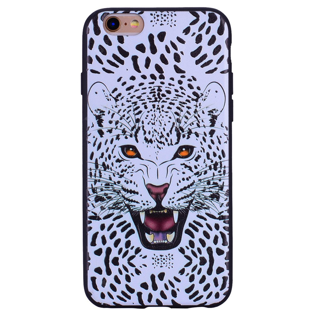 Snow Leopard Phone Case for IPhone 6 / 6S Case Cartoon Relief Soft Silicone TPU Cover Cases Protection Phone Bag with
