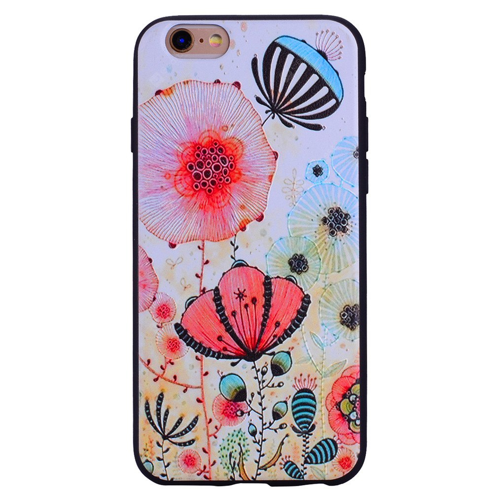 Pink flower Phone Case for IPhone 6 / 6S Case Cartoon Relief Soft Silicone TPU Cover Cases Protection Phone Bag with